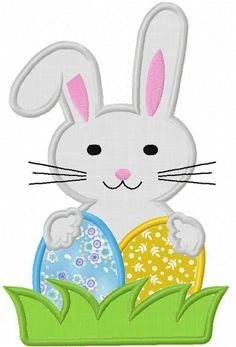 Instant Download Easter Bunny  Applique by JoyousEmbroidery, $2.99