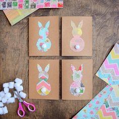carte joyeuses Pâques idées faciles réaliser vous même motif lapin #diy #cards