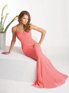 (FITS015183 )2012 Spring Style Sheath / Column Spaghetti Straps Ruffles Sleeveless Floor-length Chiffon Pink Prom Dress / Evening Dress
