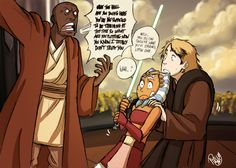 SW - Wild Windu Appears by Renny08.deviantart.com #fanart Anakin and Ahsoka ... and Mace Windu.
