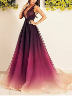 Bohoprom charming prom dresses, tulle prom dresses, long evening dresses, formal evening dresses, v-neck prom dresses, elegant evening dresses, a-line prom dresses, attractive prom dresses, #promdresses #eveningdresses #deepvneck #chapeltrain #aline #bohoprom