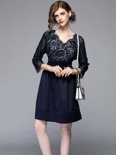 8e886cdb394 Vinfemass Solid Color V-neck Plus Size Lace Party Dress. Lace Party Dresses
