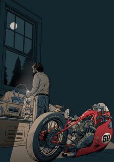 Motorcycle Art, Bike Art, Pistons Logo, Cafe Racer Bikes, Racing Motorcycles, Pulp Art, Custom Bikes, Comic Art, Harley Davidson