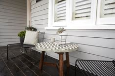Photo of That's a Wrap! The Block's Front Gardens and Facades Revealed House Exterior Color Schemes, House Paint Exterior, Exterior Colors, Weatherboard House, Queenslander, Moving Out Of Home, Front Gardens, Student House, Outdoor Tables