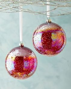 H8HL1 Jim Marvin Red Art Ball Christmas Ornaments, Set of 2