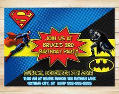 ON SALE Batman Superman Invitation // Batman by ApothecaryTables