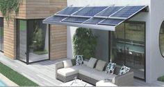 PV awning sun-shade; open when sunshine closed when dark