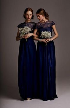 Long Navy Blue Bridesmaid Dresses with Lace Bodice...would be ...