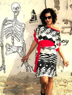 Kimono Dress with a retro pattern in black red and by lilybrush, $95.00