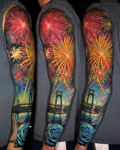 Firework sleeve tattoo by Intricate Tattoo, Detailed Tattoo, Space Tattoo Sleeve, Sleeve Tattoos, 3 Tattoo, Body Art Tattoos, Tatoos, Firework Tattoo, Cool Tats