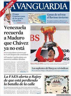 Los Titulares y Portadas de Noticias Destacadas Españolas del 15 de Abril de 2013 del Diario La Vanguardia ¿Que le parecio esta Portada de este Diario Español?