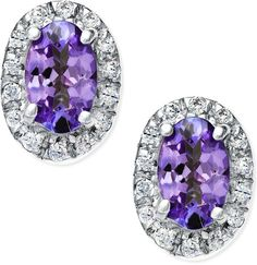Tanzanite (3/8 ct. t.w.) and #Diamond Accent Earrings in 14k White Gold
