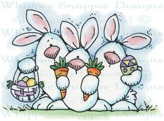 Easter Bunny Trio - Rabbits - Animals - Rubber Stamps - Shop