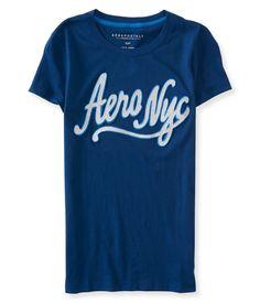 Camiseta Aeropostale Feminina NYC SCRIPT - Marinho