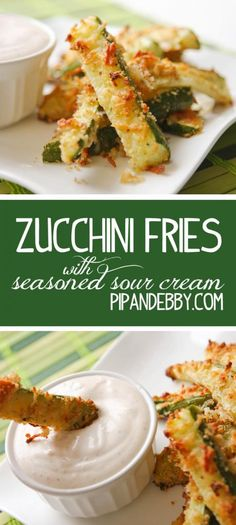 Zucchini Fries and the yummiest seasoned sour cream your lips will ever touch! Use pork rinds for low carb Low Carb Recipes, Cooking Recipes, Healthy Recipes, Delicious Recipes, Snack Recipes, Vegetable Recipes, Vegetarian Recipes, Fingerfood Party, Appetizer Recipes