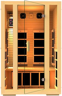 """JNH Lifestyles 2 Person Far Infrared Sauna  - 7 Carbon Fiber Far Infrared Heaters, ETL Approved, Best performance - FSC Certified """"Green"""" Wood, NO chemical added. NO plywood. - Double layer Canadian Hemlock T&G timber. - UL Listed components and ETL Approved, Use with confident. 5 Year warranty! - Built-in AUX control and 2 Premium Speakers. -Digital control that allows you to control the temperature and the duration of use of your sauna.  #aff"""