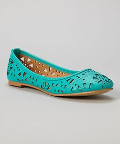 Look what I found on #zulily! Sea Green Rebecca Cutout Flat by Chase & Chloe #zulilyfinds