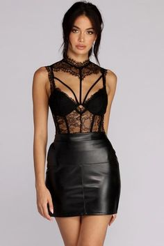 I may be wearing a Black Sheer Desires Lace Bodysuit,.but, I really like being thought of as a lady looking sexy in a leather skirt. Cute Lingerie, Lingerie Outfits, Women Lingerie, Body Suit Outfits, Sexy Outfits, Sexy Dresses, Sleeveless Dresses, Fashion Outfits, Black Women Fashion