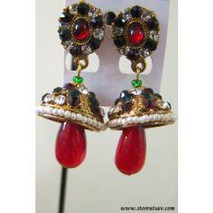 Earrings Jhumki Green & Maroon with Pearls, Bead, and Zircon Gemstones Work
