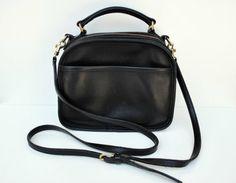 Vintage COACH Black Leather Lunch Box Crossover / Shoulder Bag