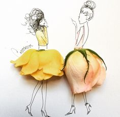 whimsical illustrations with flower petals | cute idea for invitations