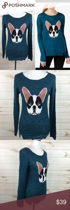🎉HP🎉 Hippie Rose Teal Boston Terrier Sweater 🎉Host Pick🎉 NWT - Great Condition - Never Worn - Perfect for Winter and so much fun!  # Cable Knit Sweater Hippie Rose Sweaters