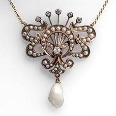 Victorian Era Diamond & Pearl Necklace