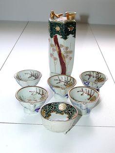 Chinese Hongxian Nian Zhi Antique 1916 Satsuma Sake Cups & Decanter Set