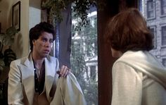 Let's be friends, alright? We'll just be friends. Movie Songs, Film Movie, John Travolta Pulp Fiction, Karen Lynn Gorney, Saturday Night Fever, Military Looks, White Suits, Good Movies, 80s Movies
