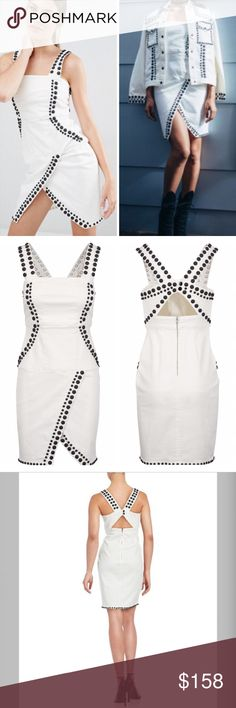 Kendall + Kylie Studded Overall Dress Kendall + Kylie Studded Overall Denim Dress in Bright White. Size Small (US 2-4). 93% Cotton / 6% Polyester / 1% Elastane. New. Never worn. No trades. Kendall & Kylie Dresses