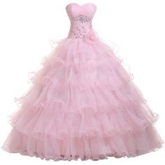 Sunvary Sweetheart Organza Ball Gown Prom Dress Quinceanera Dress Long... (250 BAM) ❤ liked on Polyvore featuring dresses, gowns, long dresses, pink, pink dress, sweetheart neckline prom dresses, long evening dresses, pink evening gowns and prom gowns