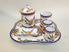Rare French GIEN Earthenware Tobacco by ParisVintageGalerie