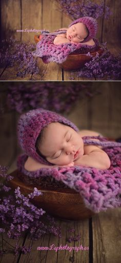 Newborn photography: Set up with lavender and purple flowers for a baby.