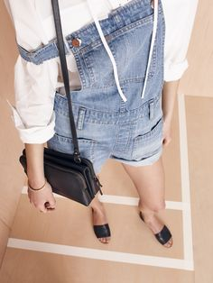 f4fe99e80f1 madewell twin-pouch crossbody worn with the adirondack overalls + terrace  lace-up shirt