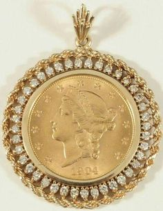 """Receive fantastic ideas on """"buy diamond pendant set"""". They are actually offered for you on our web site. Gold Coin Ring, Gold Coin Necklace, Coin Jewelry, Jewelery, Or Antique, Antique Jewelry, Silver Jewelry, Gold Pendent, Diamond Pendant"""