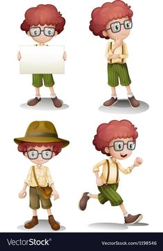 Different moods of a young boy vector image on VectorStock