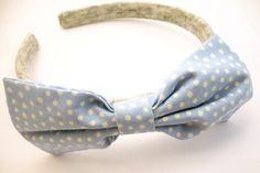 Baby Blue Polka Dots Bow Baby Aliceband Grey