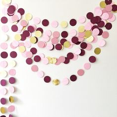 Excited to share the latest addition to my #etsy shop: Burgundy Circle Paper Garland Gold Dusty Pink Girl Birthday Backdrop Party Wedding Bridal Baby Shower Decoration Marsala Bohemian Engagement