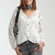 Casaco Branco Crochet