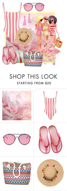 """Pink at the Beach"" by shoppe23 ❤ liked on Polyvore featuring Solid & Striped, LMNT, Handle, Vanessa Mooney, pastel, tasselearrings, beachjewelry and summer2017"