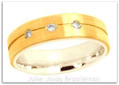 Aliança em ouro amarelo e branco 750/18k e diamantes (yellow & white 750/18k gold wedding ring with diamonds)