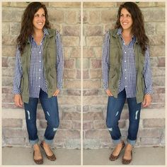 Finally getting to participate in #shannonsastylechallenge27 with my fav distressed denim! Perfect fall look and this gingham blouse is going to be on repeat. Would you wear it? #realmomstyle