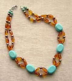 Amber Necklace, Turquoise Magnesite, Gemstone Jewelry, Cultured Pearls, Sterling Silver, Aqua, Golden, Honey, Robins Egg