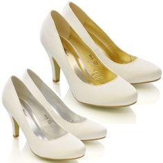 WOMENS BRIDAL WEDDING MID HEEL LADIES IVORY WHITE SATIN PROM PARTY SHOES SIZE