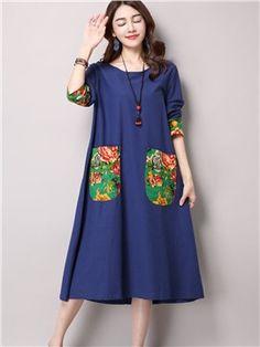 Ericdress Ethic Long Sleeve Print Pocket Casual Dress