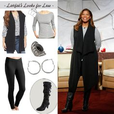 Sweater vest, leggings, and knee-high boots! Comfy chic. | My Look for Less: 10.13.14 | Queen Latifah