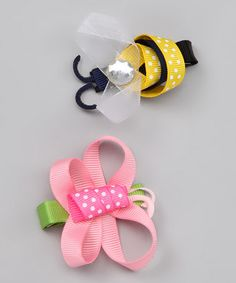 Take a look at this Butterfly & Bee Clip Set by Hair Flair on #zulily today!