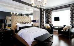 Brown Bed Furniture Sets and Dark Leather Chairs in Small Bedroom Decorating Design Ideas