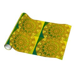 Yellow Green Wheel of Fire Mandala, Abstract Lace Gift Wrap Paper
