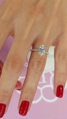 Cute Engagement Rings, Timeless Engagement Ring, Pear Shaped Engagement Rings, Engagement Ring Shapes, Halo Diamond Engagement Ring, Wedding Jewelry, Wedding Rings, Pear Shaped Diamond Ring, Dream Ring
